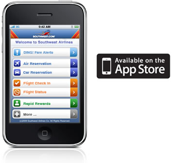 Southwest Airlines iPhone App and Apple Store graphic