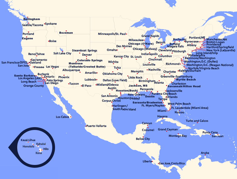 Map Of South West Southwest Airlines   Route Map