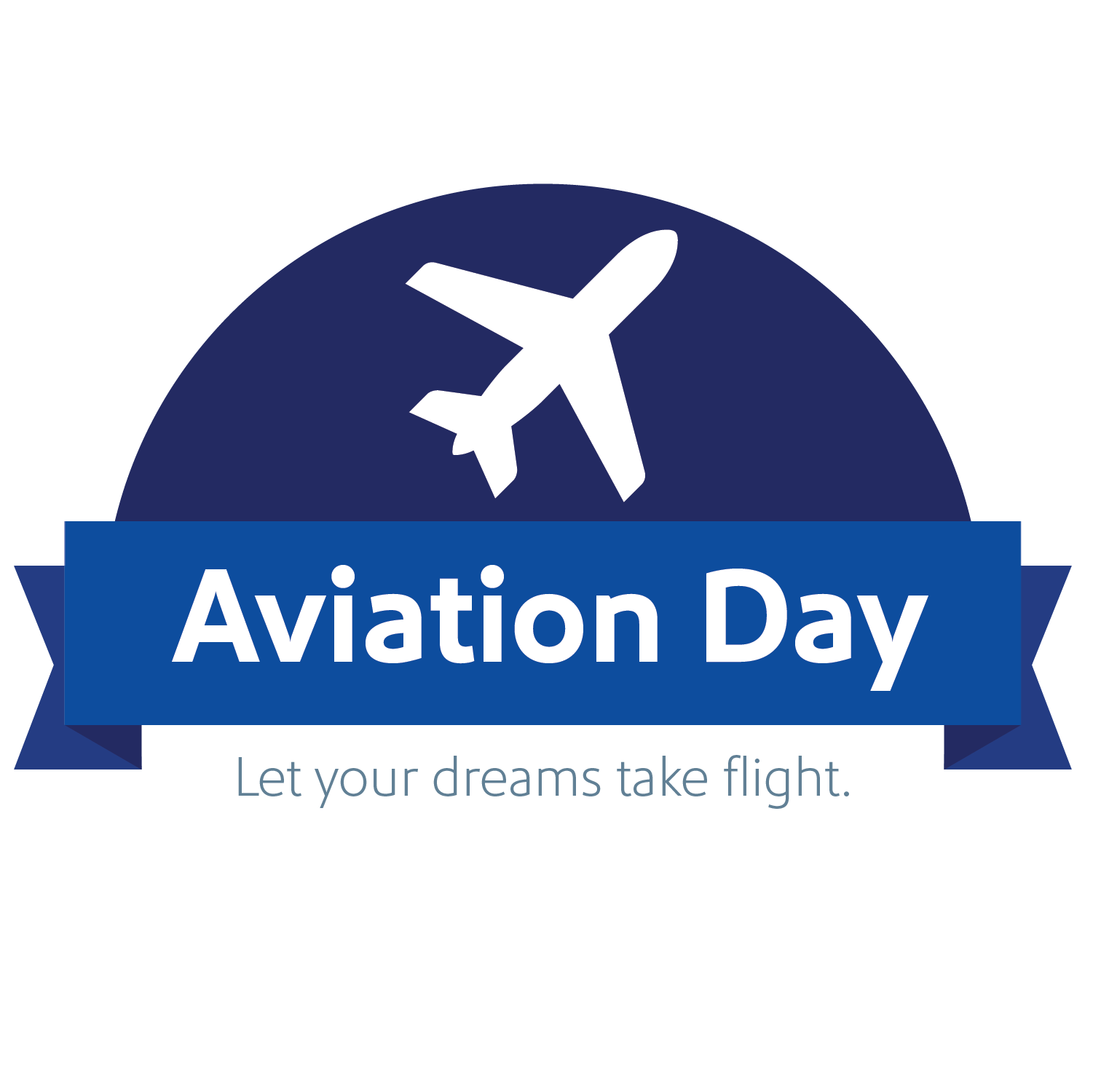 Aviation Day brand mark with tagline 'let your dreams take flight