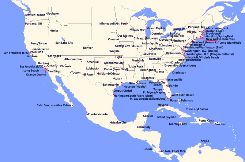 Corporate Travel Southwest Airlines - Southwest-map-us