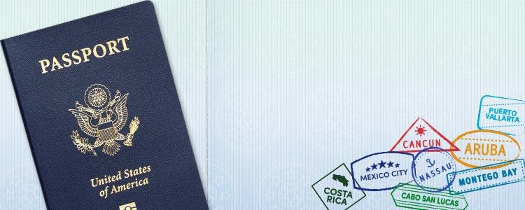 Imagen de fondo de un pasaporte de los EE. UU. y sellos de México y América Central