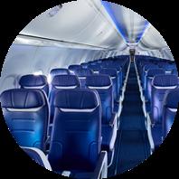 La cabina de un avión de Southwest Airlines