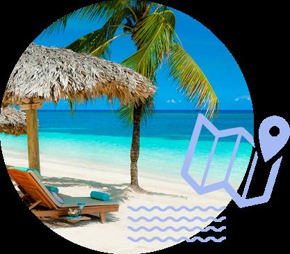 Una cabaña en la playa con agua cristalina y una palmera. Ícono celeste de un destino marcado en la parte superior de un mapa.