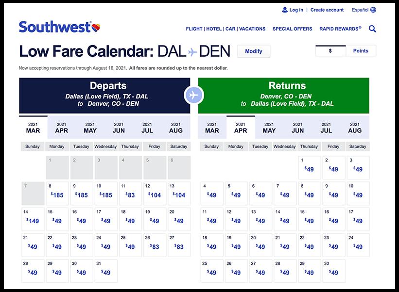 Ejemplo del calendario de tarifas bajas de Southwest Airlines