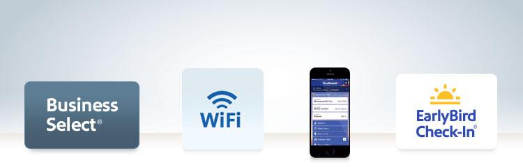 Southwest proporciona servicios para que tu viaje sea extraordinario. Business Select, Wifi, acceso por móvil y EarlyBird Check-In.