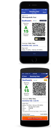 mobile boarding pass image in passbook