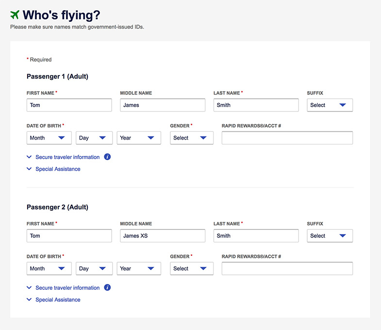 An Image Of A Booking Flow Screenshot Entering The Penger Information On Southwest