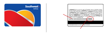 The southwest gift card security code, corresponds to the last 4-digits displayed after the 16-digit card number on the back of the card.