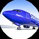 Vista de la trompa de un avión con los colores de Southwest Airlines