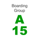 A white circle icon with the boarding group position A15 in green.