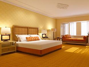 Una habitación de hotel con iluminación cálida