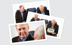 Herb Kelleher and Gary Kelly sitting in Southwest Airlines seats