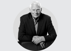 Herb Kelleher in black and white