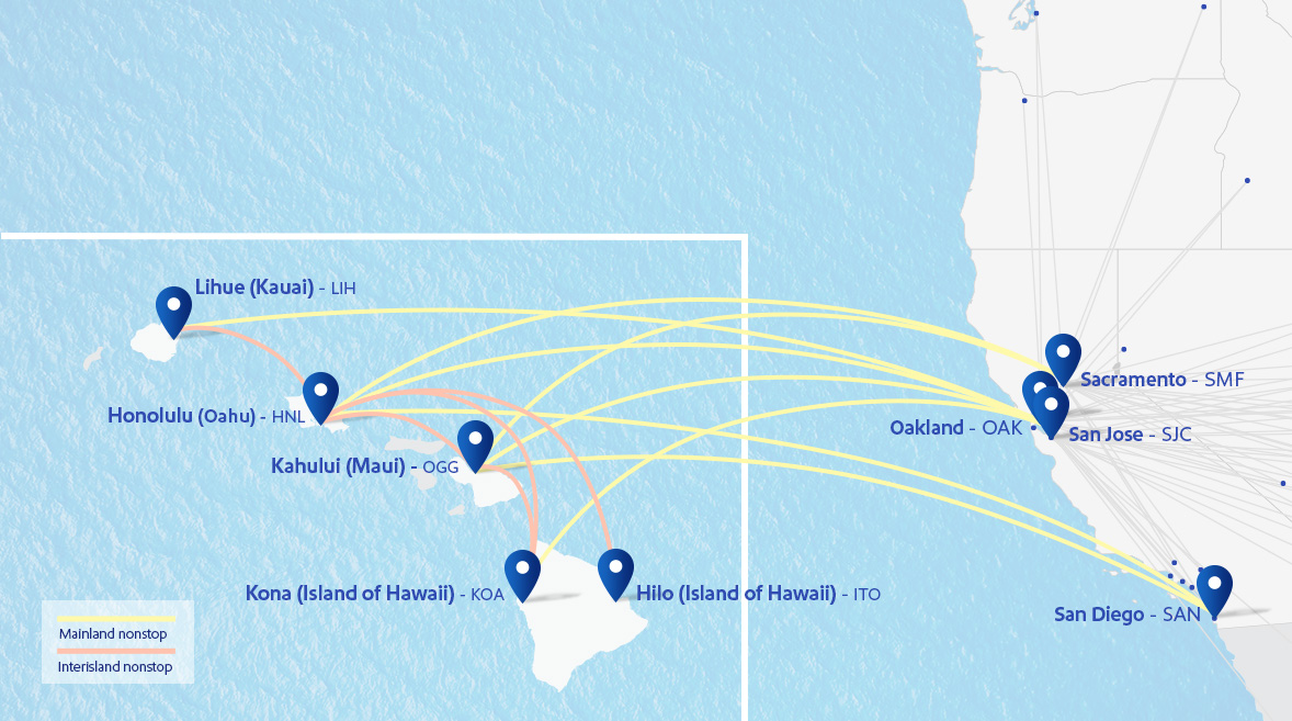 Map of Hawaii and Southwest routes to Hawaii from Oakland (OAK) and San Jose (SJO) and interisland flights