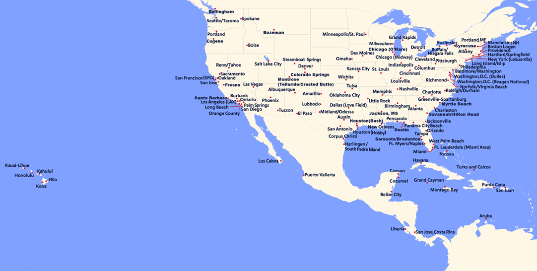 Map of all current and future flights available for booking for the duration of our open schedule.