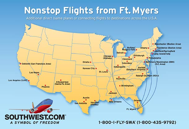 Southwest Airports Map Southwest Airlines Unveils Destinations and Fares From Southwest  Southwest Airports Map