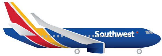 Computer-Illustrated-Southwest-Airlines-Plane